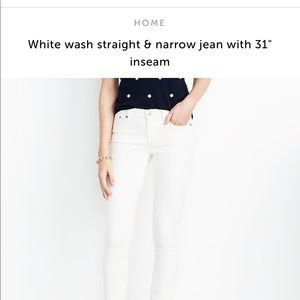 NWT jcrew White straight and narrow jeans